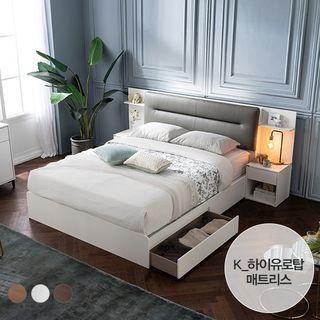 [에몬스홈] 엘리 LED 서랍형 침대(K)_하이유로탑 매트, 749000원, GSSHOP