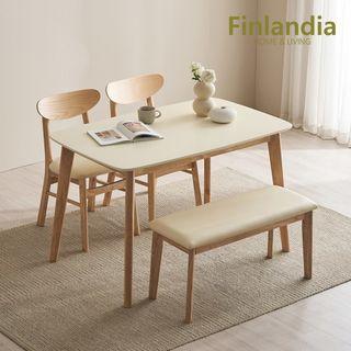 핀란디아 [핀란디아]데니스 화이트 4인식탁세트(의자2+벤치1), 218740원, 롯데홈쇼핑
