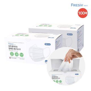 (국내생산) 프레시브 쉽게 뽑아쓰는 일회용 3중 마스크 100매(50매*2개), 54900원, 롯데홈쇼핑