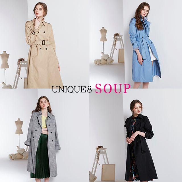 UNIQUE8 SOUP 스프링 롱앤린 실루엣 트렌치코트