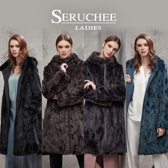 [SERUCHEE LADIES]세루치 레이디스_밍크 리버시블 후드 롱코트1종