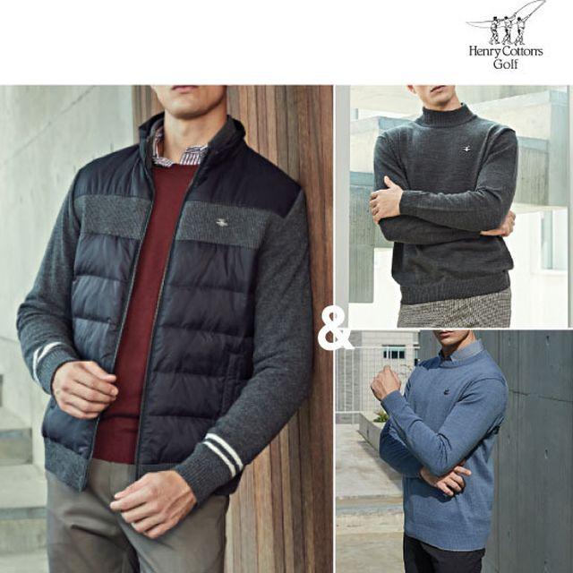 [이월재고]헨리코튼골프 남성 방풍 컬렉션 3종(재킷+스웨터2종)