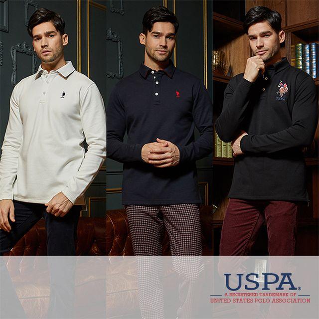 [오플] USPA 18WINTER 폴로 화이트라벨 기모티셔츠 남성 3종