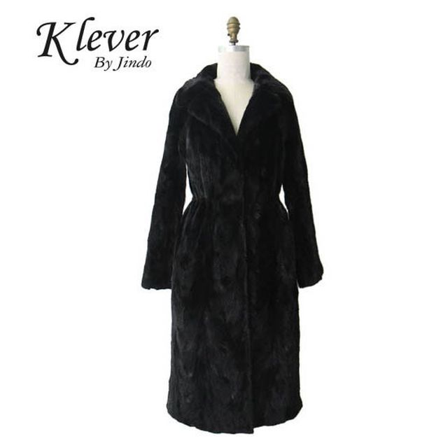 [Klever by Jindo]테일러드 카라 밍크 롱코트(MC86)- 블랙