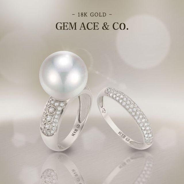 [제메이스] 18K 천연 다이아몬드 13mm 남양진주 반지