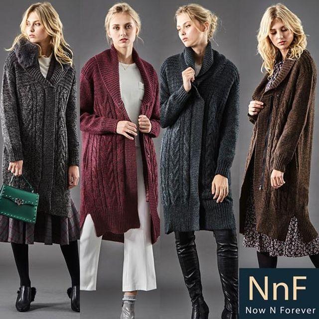 NnF 울알파카 롱 니트코트