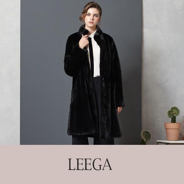 [오플]LEEGA 리가 코펜하겐 휘메일 롱 밍크코트_블랙