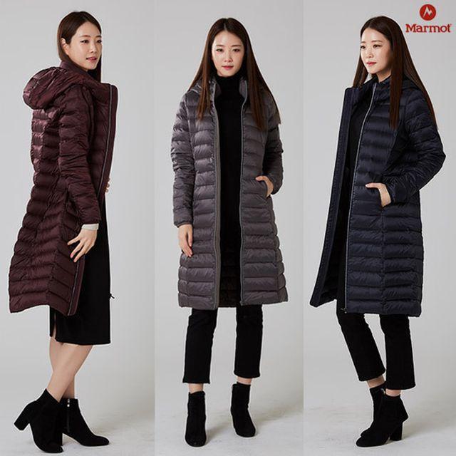 18년 신상/구스다운(솜털80%:깃털20%)[마모트] 18FW 여성패딩 엘리 경량 롱다운자켓