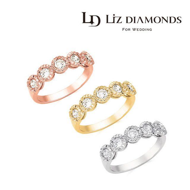 LIZ GEM 18K 커브스 다이아몬드 5부 반지
