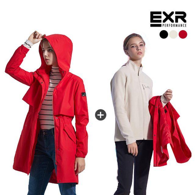 EXR 여성 19 FW 2레이어 자켓+우븐팬츠+플리스 자켓 3종 SET