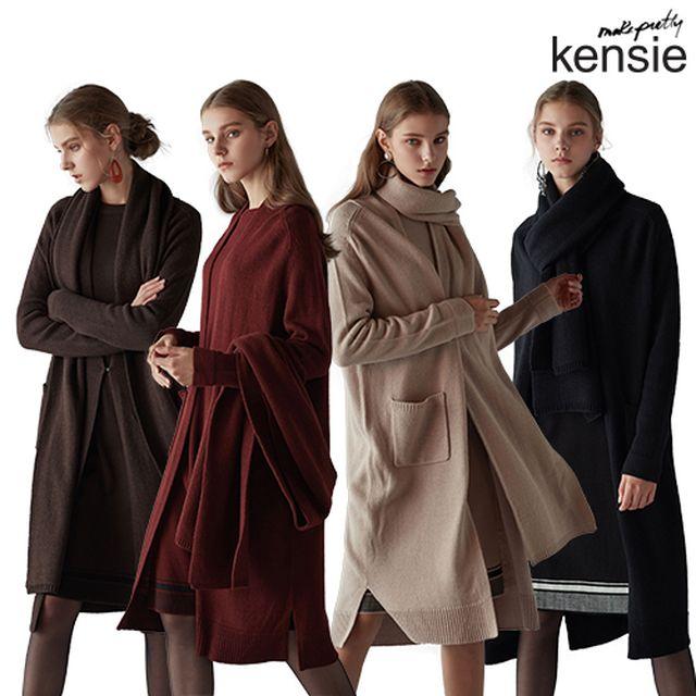 [릴레이팡팡 상품] [켄지] KENSIE 19FW 클로이 울 블렌디드 니트 셋업 3PCS (가디건+원피스+머플러) (From NewYork)