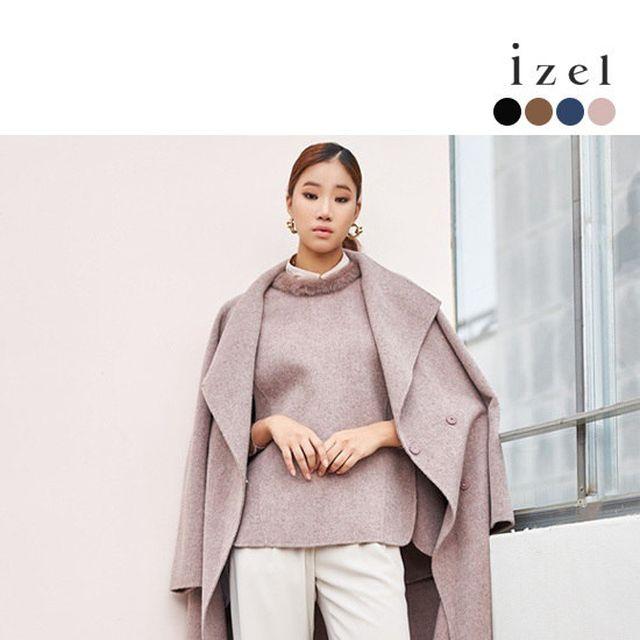 [izel] 아이젤 페루 알파카 블렌딩 핸드메이드 코트+밍크 베스트 SET