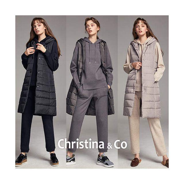 (X)크리스티나앤코 19FW 니트 풀코디 셋업 3종 세트 (패딩롱베스트+융본딩니트후드티+니트팬츠)