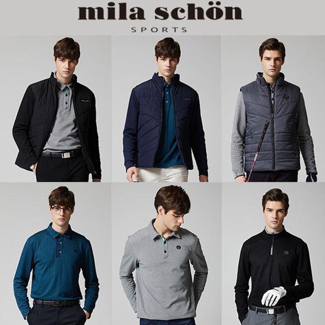 [밀라숀 mila schon] 남성 시그니쳐 라운딩 패키지 6종 (자켓, 베스트, 셔츠, 파우치)