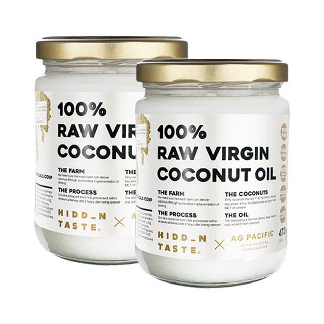 히든테이스트 100% 생과율 버진 코코넛 오일 473ml 2병