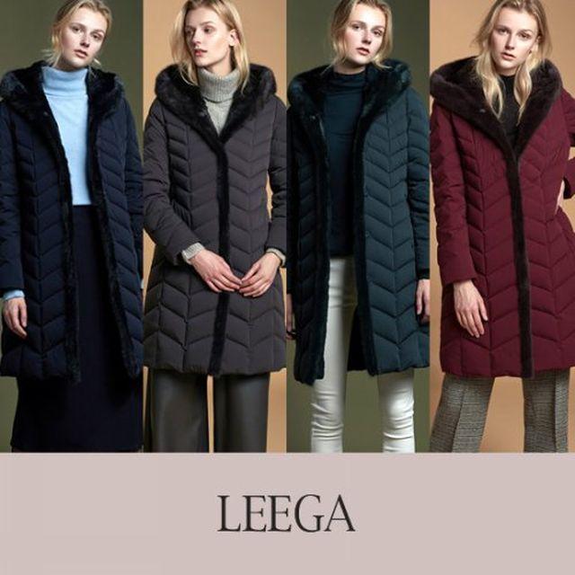 [리가(LEEGA)] 밍크 트리밍 래빗 풀스킨 구스다운 코트