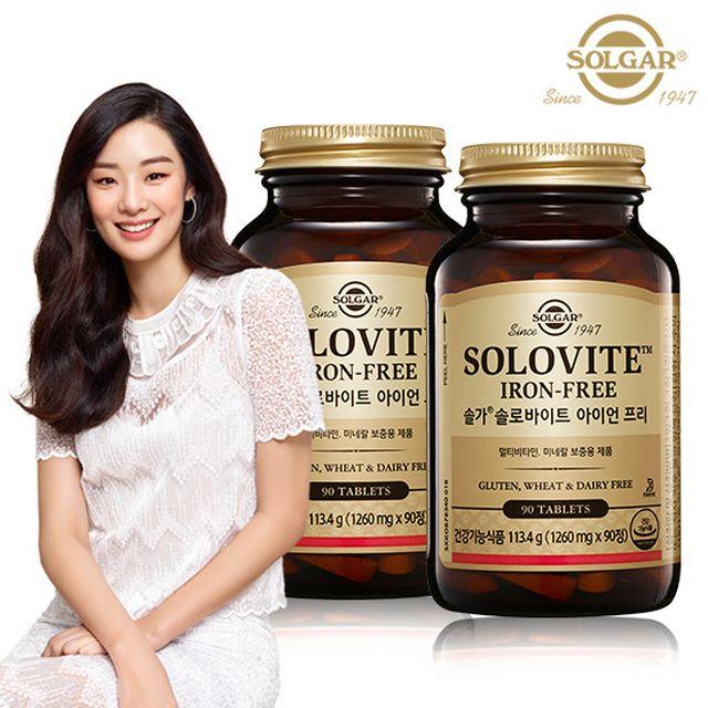 [솔가] 솔로바이트 아이언프리 종합비타민 90정x2병 (6개월)