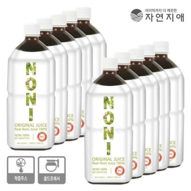 [2만원 세일!] 자연지애 100%착즙 노니주스 1000ml * 10병!