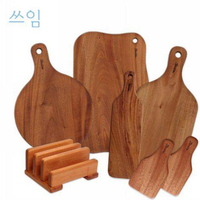[방송조건] 쓰임 마호가니 통원목도마 7종세트(도마6종+거치대)