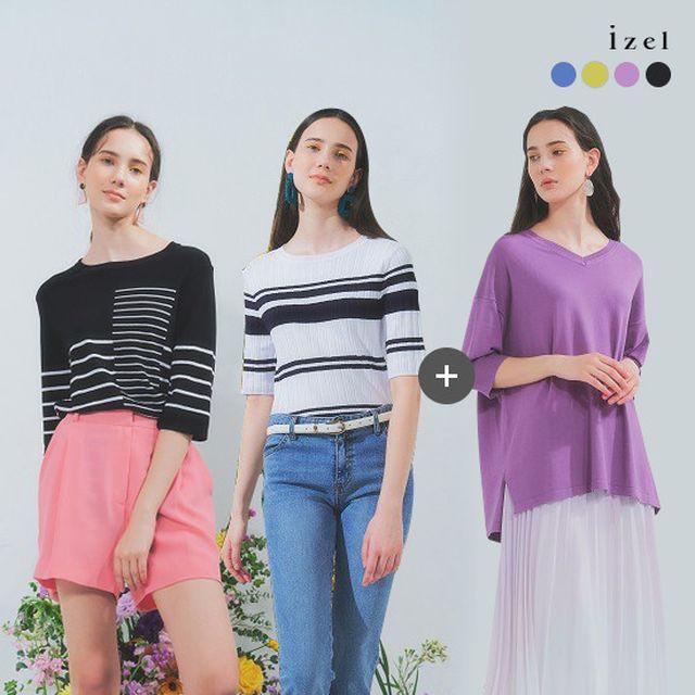[izel] 아이젤 20SS 썸머 갤러리 니트 컬렉션 (스트라이프 2종+솔리드 1종)