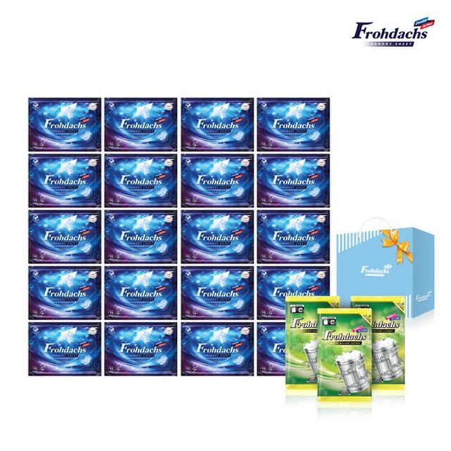 [쇼핑백+세탁조클리너 포함구성]독일 빨래과학 프로닥스 시트세제 본품 20팩(300매)+세탁조 클리너 1박스(3팩)+쇼핑백
