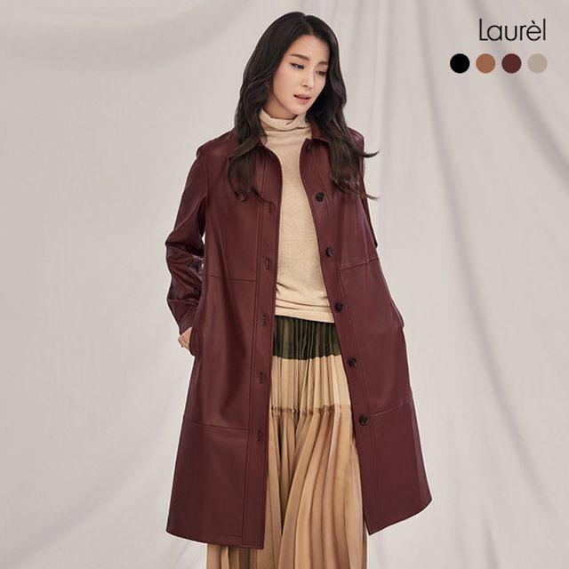 라우렐 디바 Faux leather 롱코트