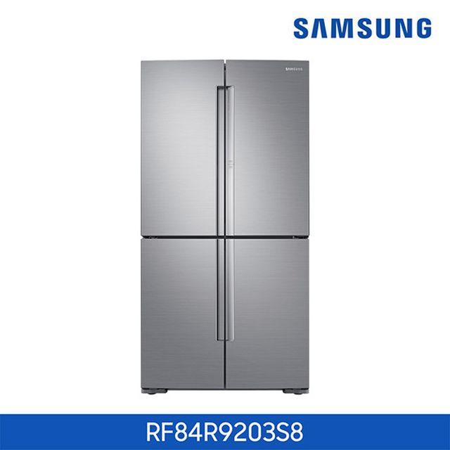 ○ [848L 상냉장.하냉동] 삼성 T9000 푸드쇼케이스 5도어 냉장고 리얼메탈 [RF84R9203S8]