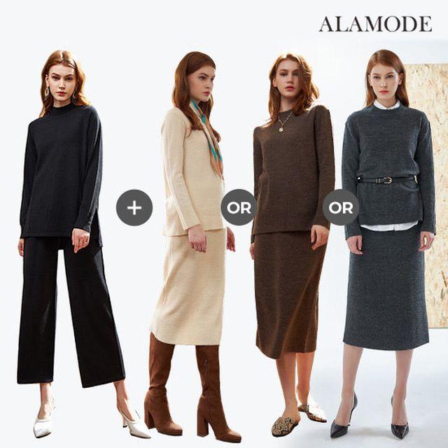 [ALAMODE]아라모드 니트 라운지웨어 4종(풀오버2+팬츠+스커트)