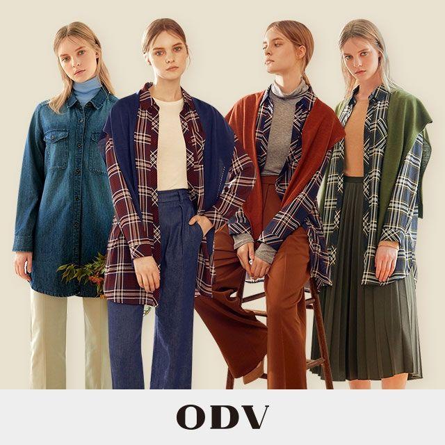 20FW ODV 오디브 여성 아우터 셔츠 니트숄 컬렉션 3종 (체크블라우스+데님셔츠+니트숄)