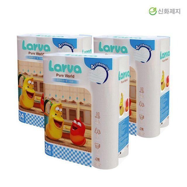 [3팩] 라바 퓨어월드 프리미엄 데코 엠보 4겹 화장지