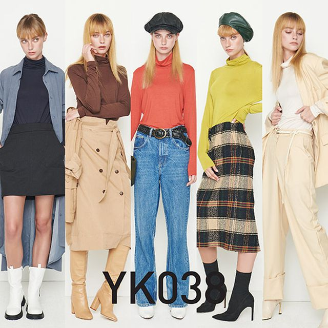 YK038 모달하이넥티셔츠 5종
