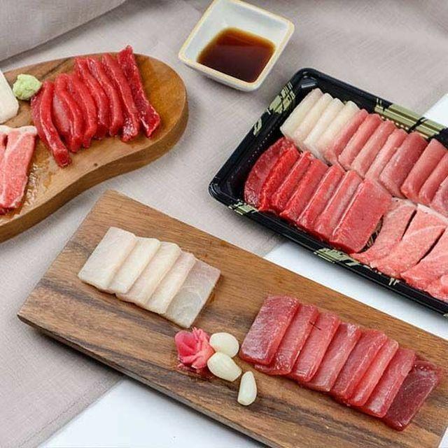 냉동/슬라이스형/미니간장,미니와사비,락교+초생강까지 [또또마켓]프리미엄 참치 회 세트 500g