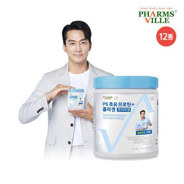 ○[더블] PS 초유 프로틴+ 콜라겐 프리미엄 (420g x 12통) + 보틀 1 개 + 스푼 12개
