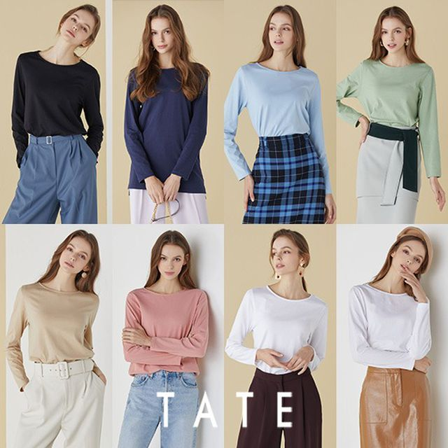 [TATE] 21봄 오가닉코튼 라이크라 에센셜 티셔츠 여성 8종