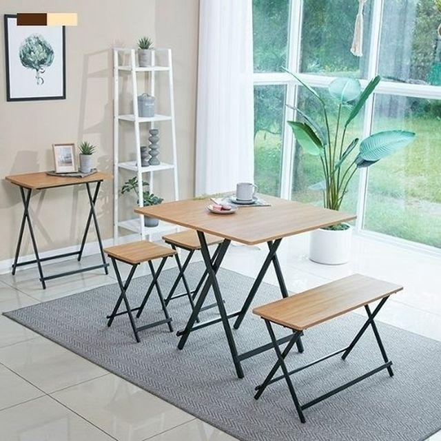 [초특가] 까사마루 오드리 접이식 테이블 벤치 세트 (테이블 1 + 의자 2개 + 벤치의자 1개)