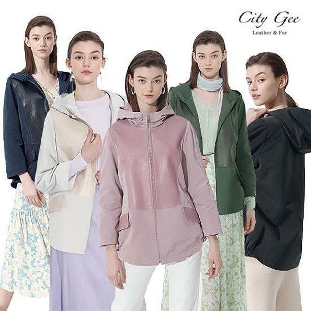 [NH5%할인][2021 봄신상!!]  씨티지 (CityGee) 이태리 양가죽 콤비 후드 코트