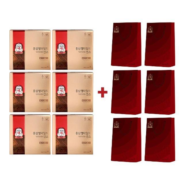[정관장] [15프로 세일]홍삼정마일드센스 6박스(10ml*30포*6박스) + 쇼핑백 6장