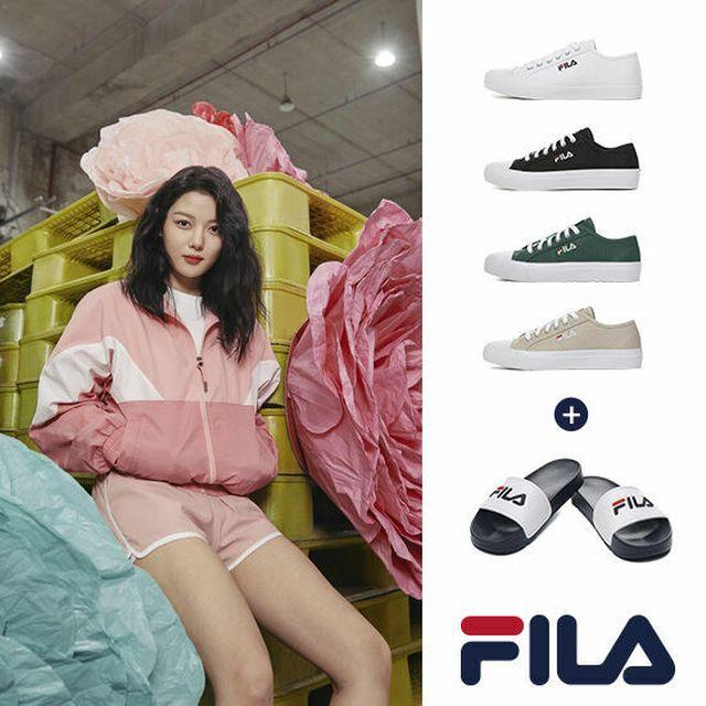 FILA 2021 최신상 여성용 캔버스 스니커즈 + 슬리퍼