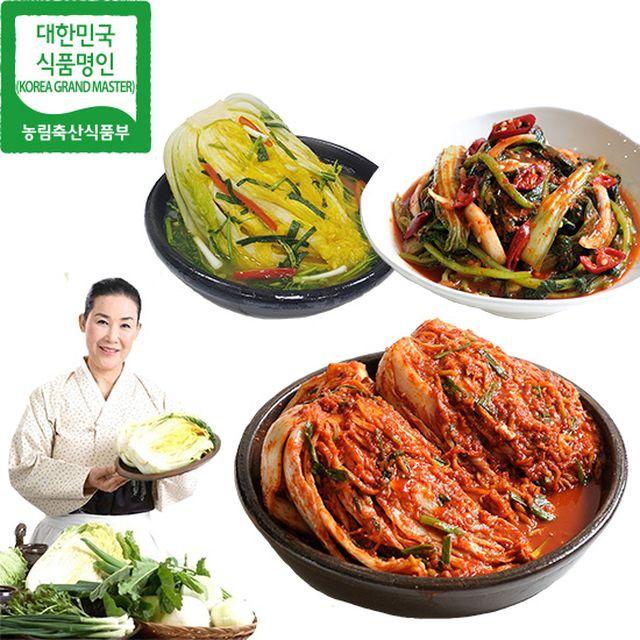 유정임 명인 프리미엄 김치 3종 10kg (포기5+단호박백김치3+열무얼갈이2)