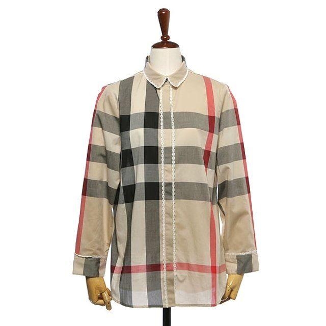 [버버리] 레이스 체크 코튼 셔츠
