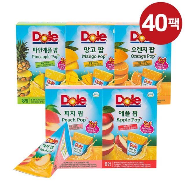 [DOLE] 돌후룻팝 40팩(피치8팩+애플8팩+오렌지8팩+망고8팩+파인애플8팩)
