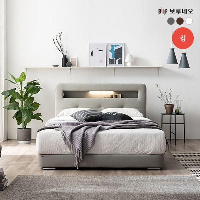 [보루네오][K] 보루네오 올인원 스마트 LED 가죽침대 + 매트리스 커버