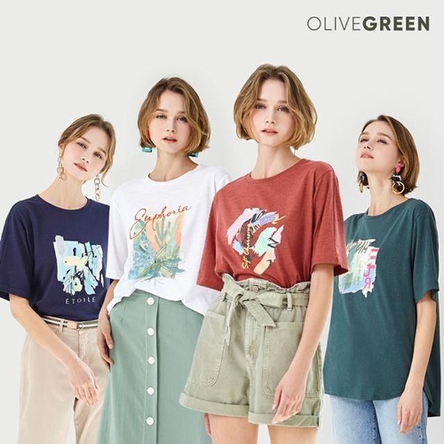 [올리브그린] 썸머 트윙클 그래픽 티셔츠 4종
