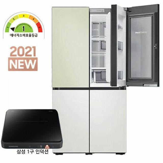 21년 신상 비스포크 20만원 가격 인하 삼성 비스포크 냉장고 5도어(코타)RF85A92K1AP+인덕션