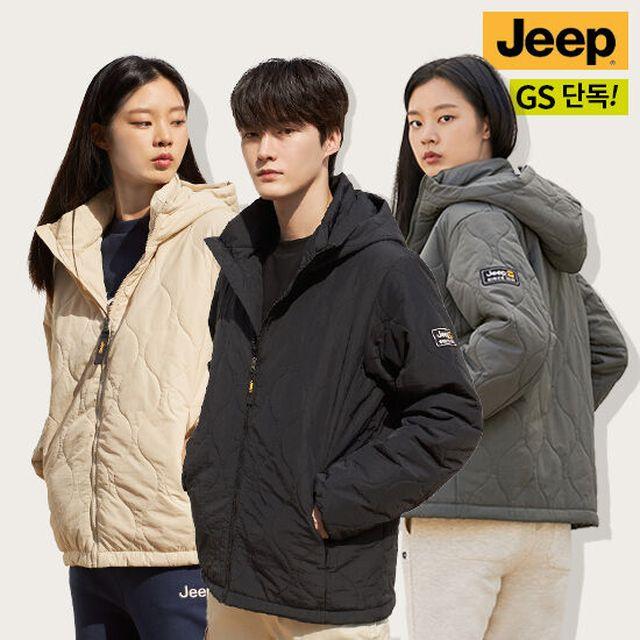 JEEP TV홈쇼핑 최초 상륙. 겨울 맞이 신상 그랜드 런칭 [지프 JEEP] 21FW 옐로우라벨 웨이브퀼팅 패딩 후드 점퍼 남녀공용